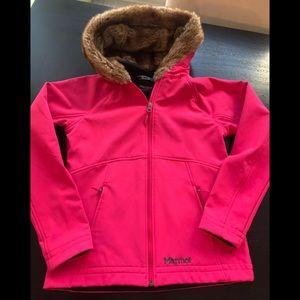 Marmot Fuchsia pink faux fur hoodie zip jacket S